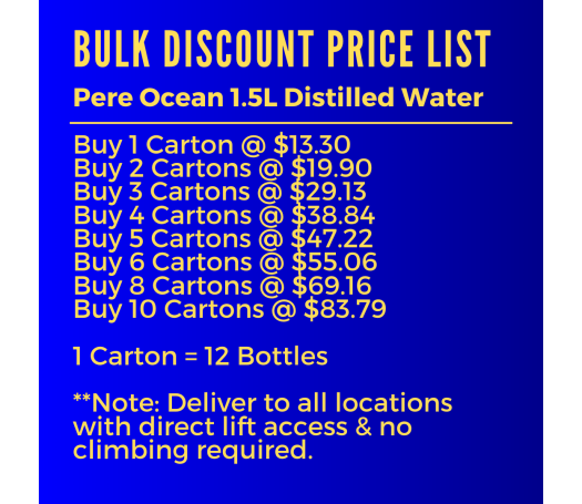 1.5L Pere Ocean Pure Distilled Water