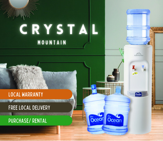 Pere Ocean Crystal Mountain Mogul Hot And Cold Floor Stand Bottled Water Dispenser