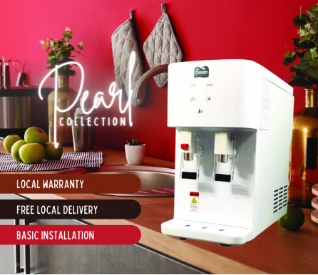 Pere Ocean Pearl White Hot and Cold Table Top Direct Piping Water Dispenser and Water Purifier from Korea