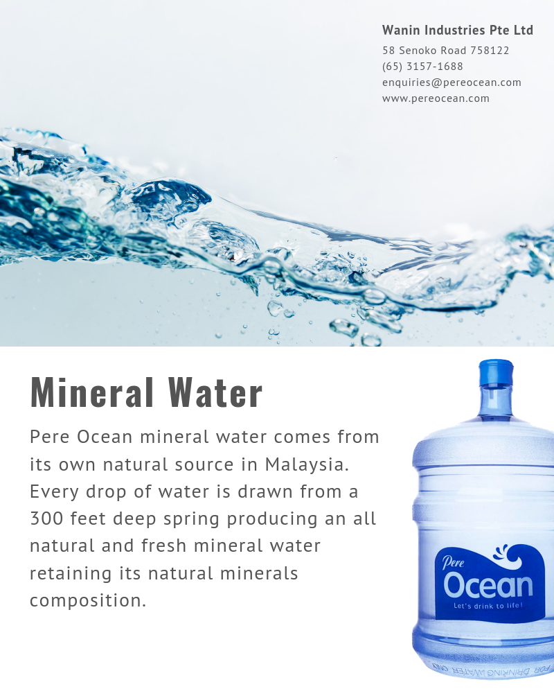Mineral Water Pere Ocean mineral water comes from its own natural source in Malaysia. Every drop of water is drawn from a 300 feet deep spring producing an all natural and fresh mineral water retaining its natural minerals composition.