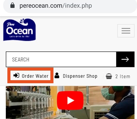 Pere Ocean Repeat Bottled Water Order Online via Mobile Number Step 1