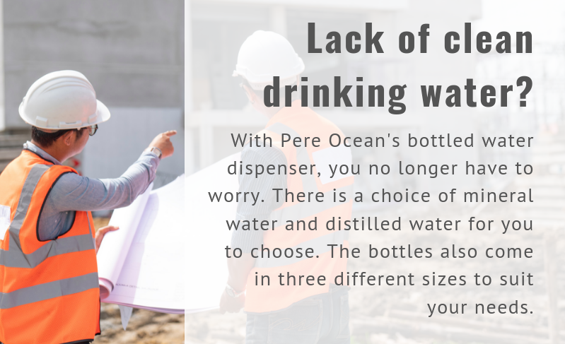 Lack of clean drinking water? With Pere Ocean's bottled water dispenser, you no longer need to worry. There is a choice of mineral water and distilled water for you to choose.