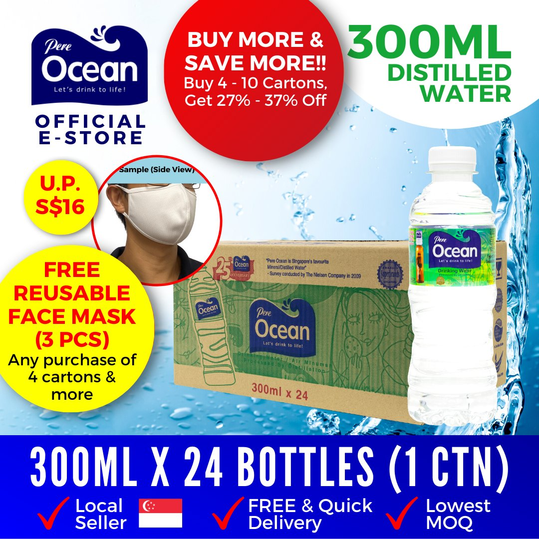 Pere Ocean Distilled Water 300ml Bulk Discount