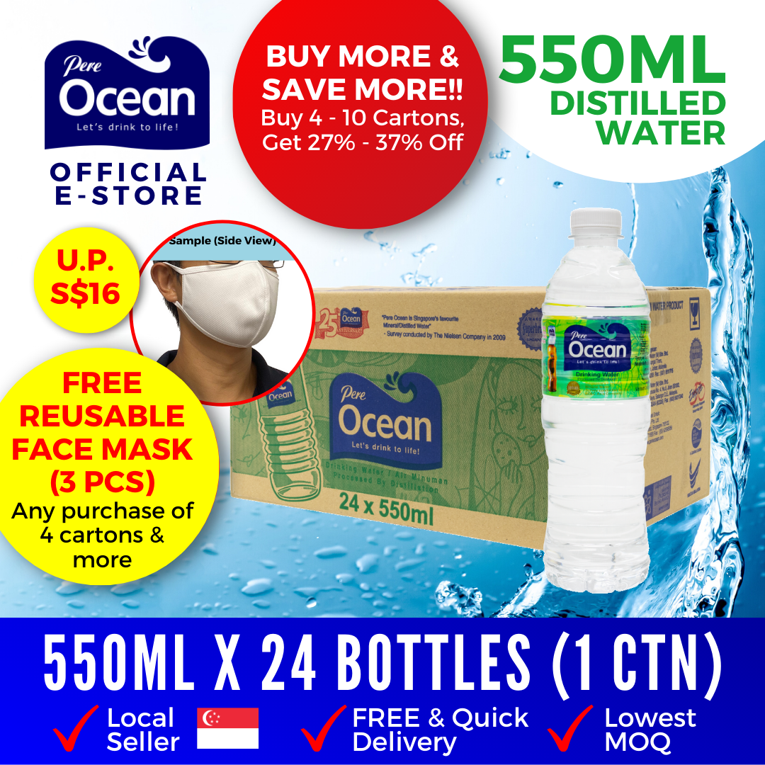 Pere Ocean Distilled Water 550ml Bulk Discount
