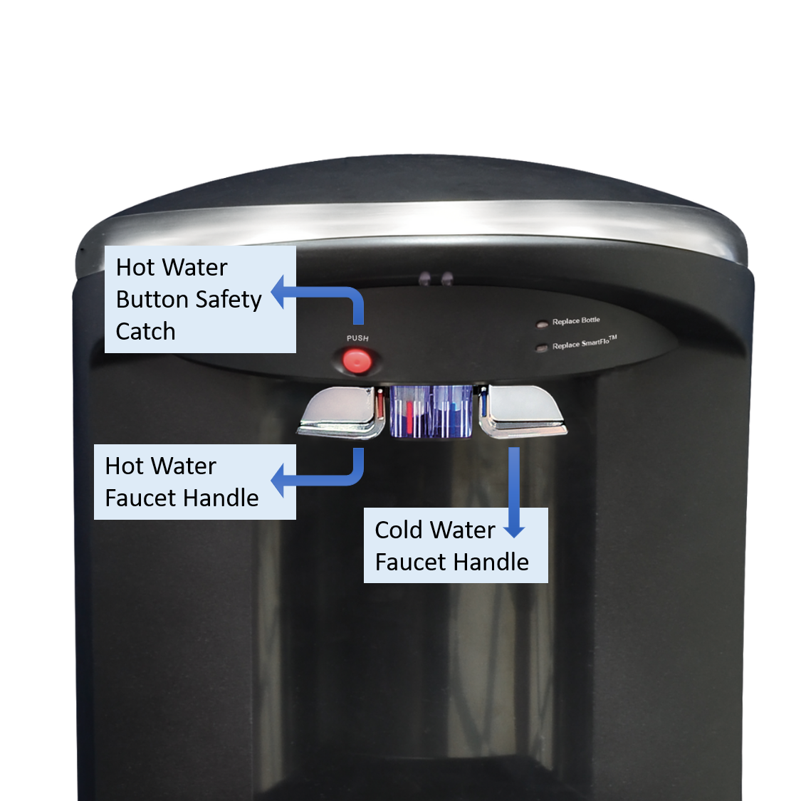 Crystal Mountain Everest Elite Hot Cold Floor Stand Water Dispenser Metal Faucet Handle Diagram