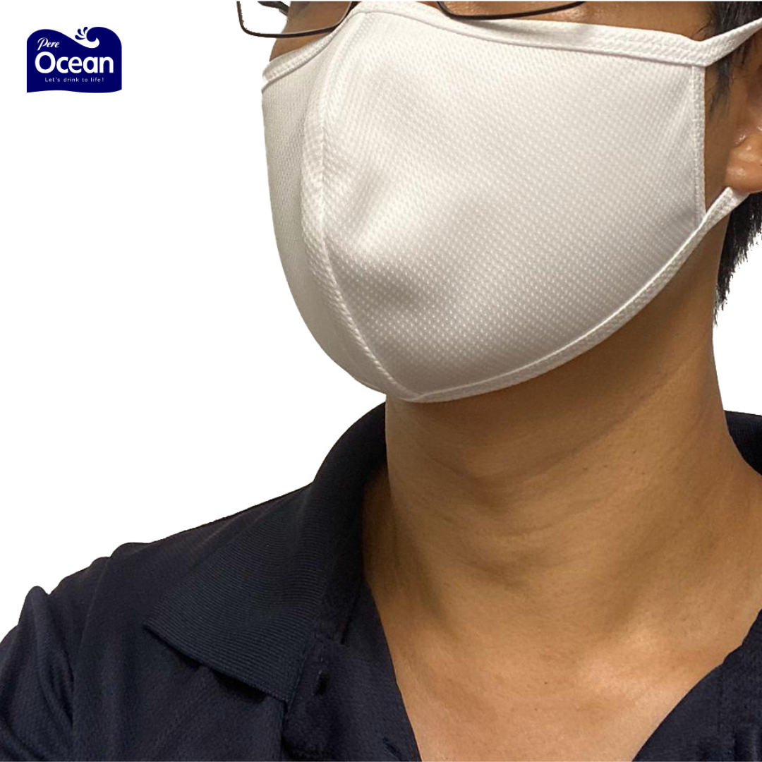Pere Ocean Reusable Washable Anti Bacterial Adult Face Mask (White, Side View)