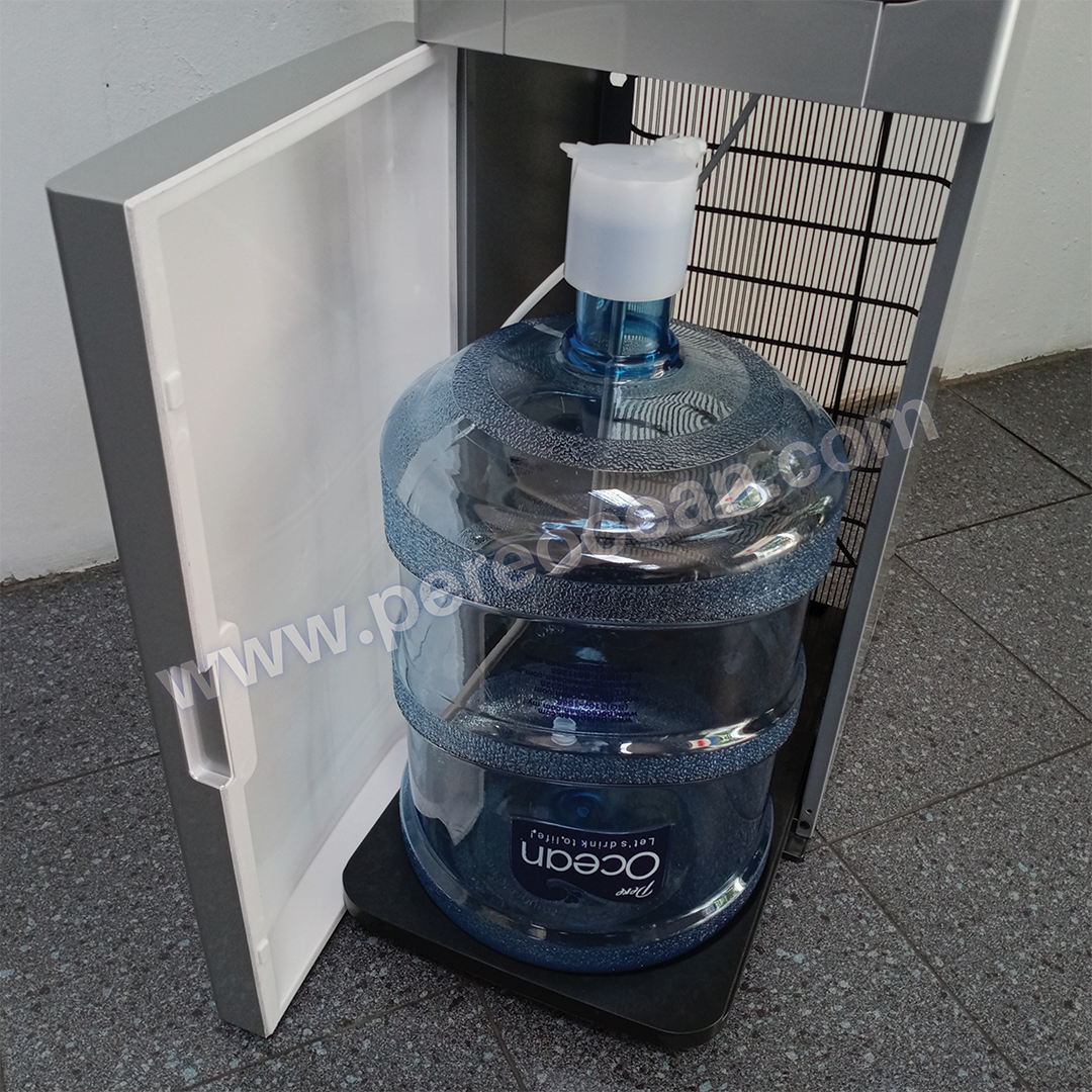 Close Up View of Bottom Loading of Water Refills Pere Ocean Black Diamond Hot and Cold Bottom Load Floor Standing Bottled Water Dispenser Singapore