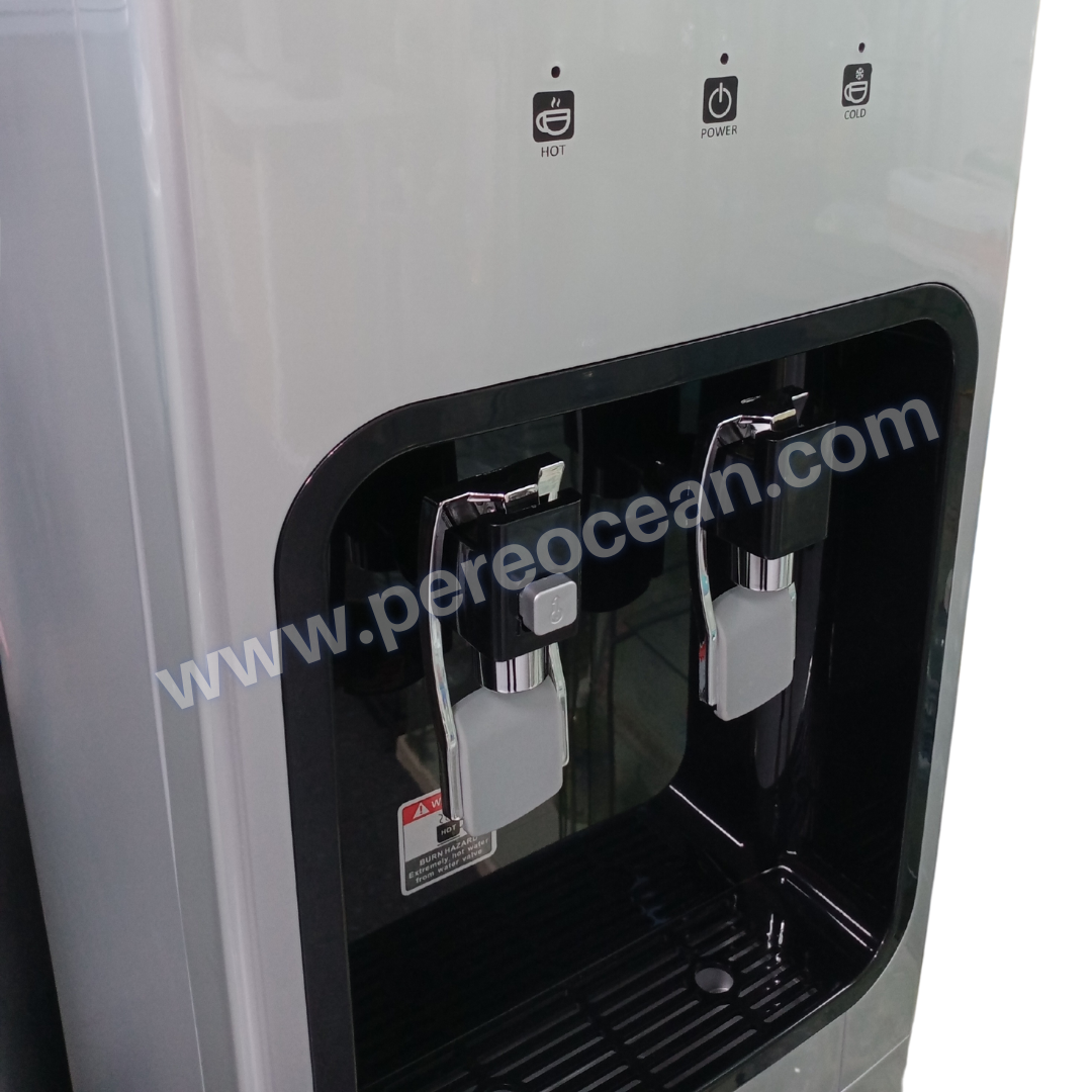 Closeup View of Hot Water Child Safety Lock of Pere Ocean Black Diamond Hot and Cold Bottom Load Floor Standing Bottled Water Dispenser Singapore