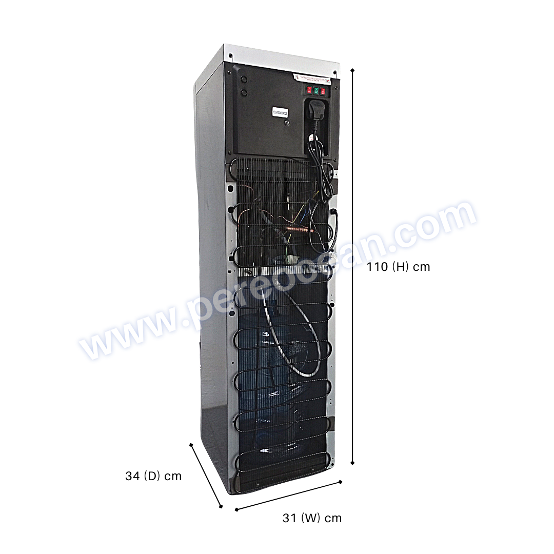 Full Back View of Closed Pere Ocean Black Diamond Hot and Cold Bottom Load Floor Standing Bottled Water Dispenser Singapore