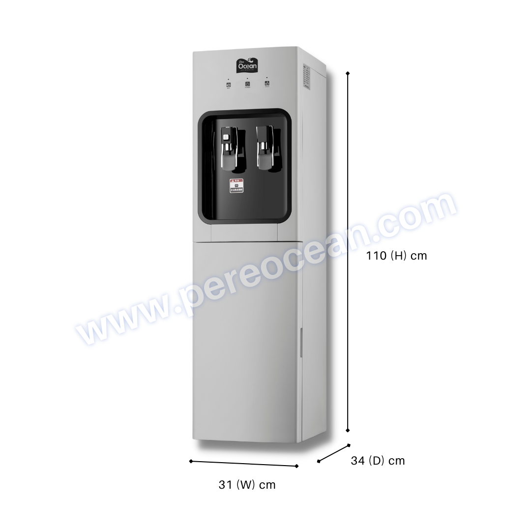 Full Front View of Closed Pere Ocean Black Diamond Hot and Cold Bottom Load Floor Standing Bottled Water Dispenser Singapore