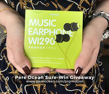 Pere Ocean Sure-Win Giveaway WI290 WK Music Earphone