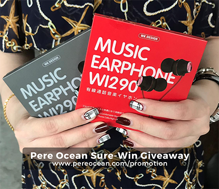 Pere Ocean Sure-Win Giveaway WI290 WK Design Music Earphone