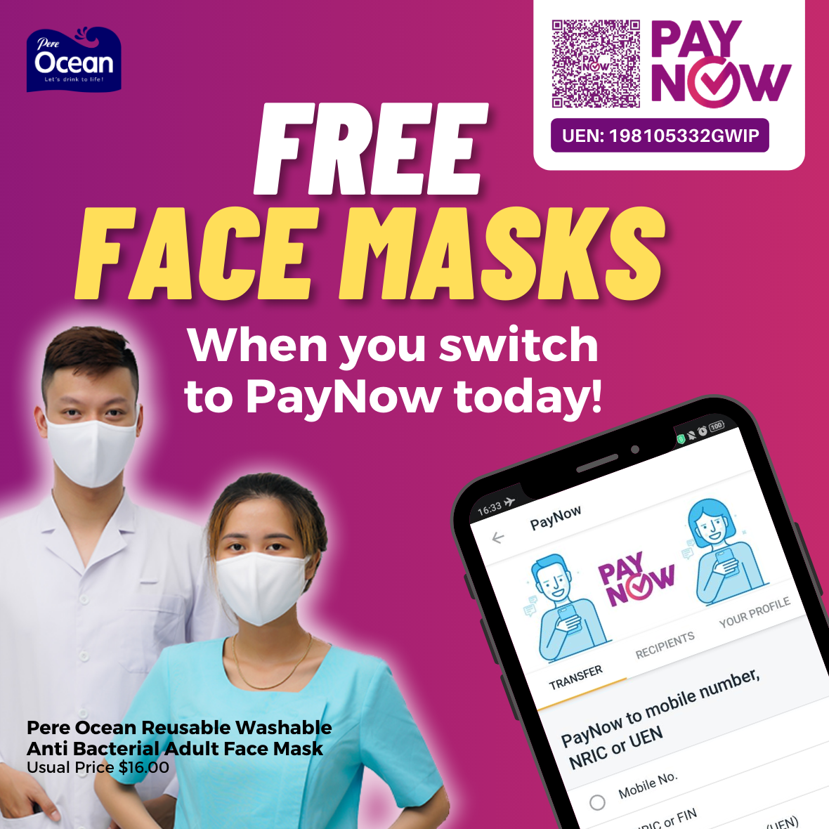 Pere Ocean Switch to PayNow Today Redeem Free Reusable Face Masks